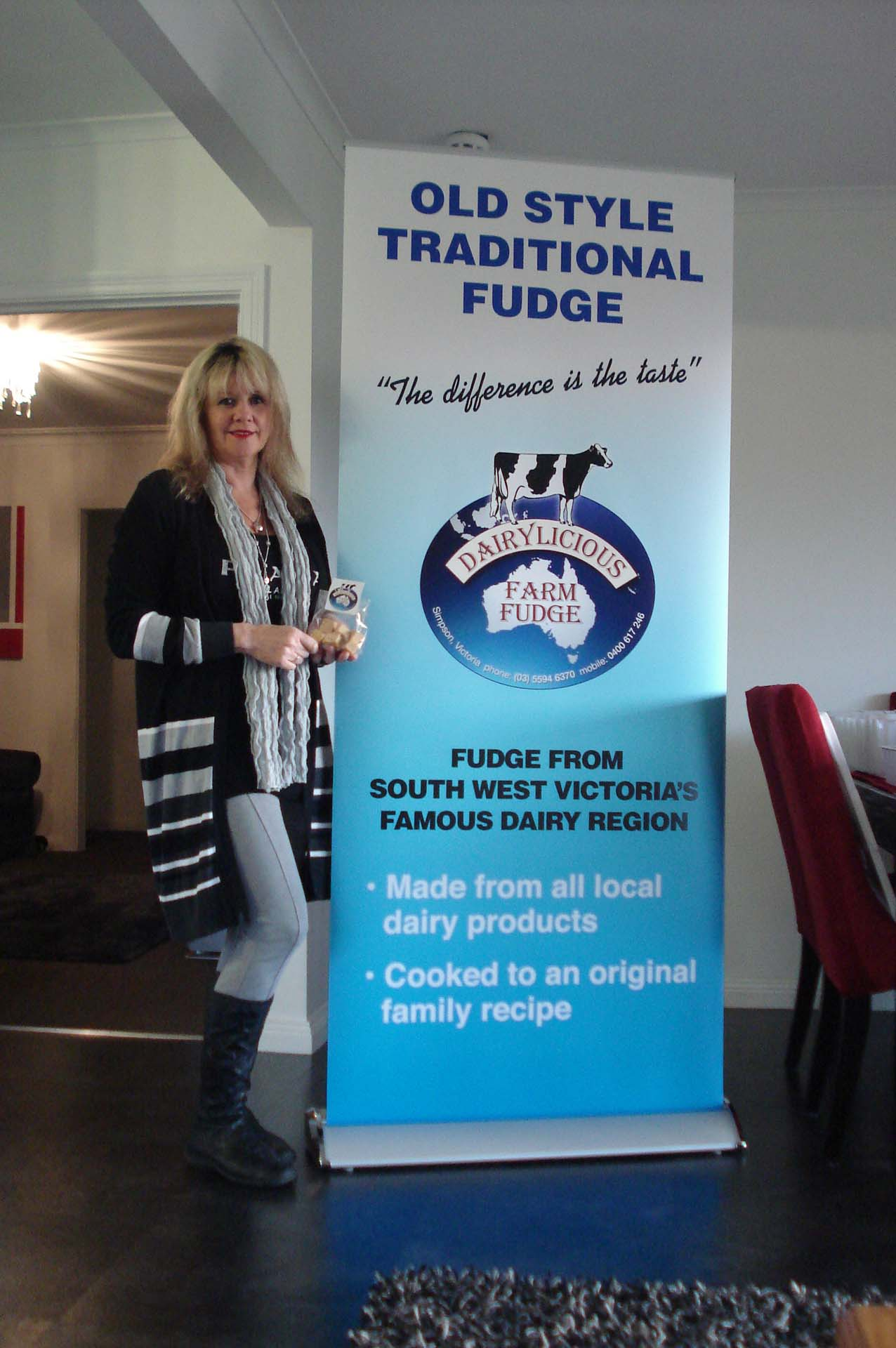 Dairylicious Farm Fudge - Lynda with Banner